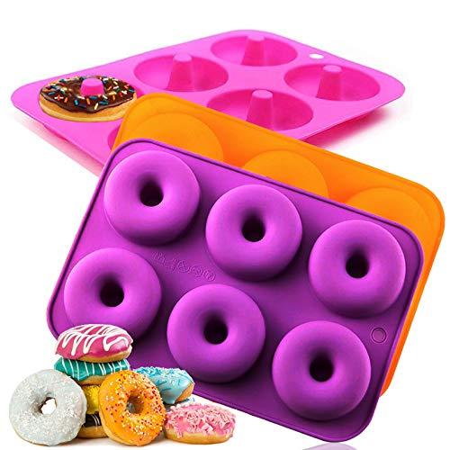 Amison Donut-Silikonformen, Backform, antihaftbeschichtet, für Geschirrspüler, Ofen, Mikrowelle, Gefrierschrank, BPA-frei, perfekte Form für Donuts (3 Stück)