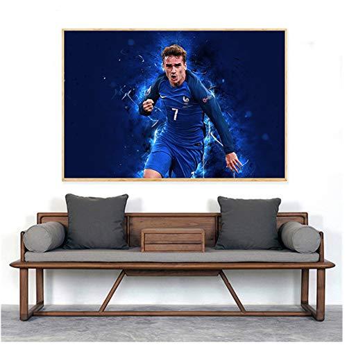 yhyxll Sport Team Griezmann Affiche Giroud Art Abstrait France NationalImpression sur ToilePeinture MuraleImpression sur Toile-60x80cm sans Cadre