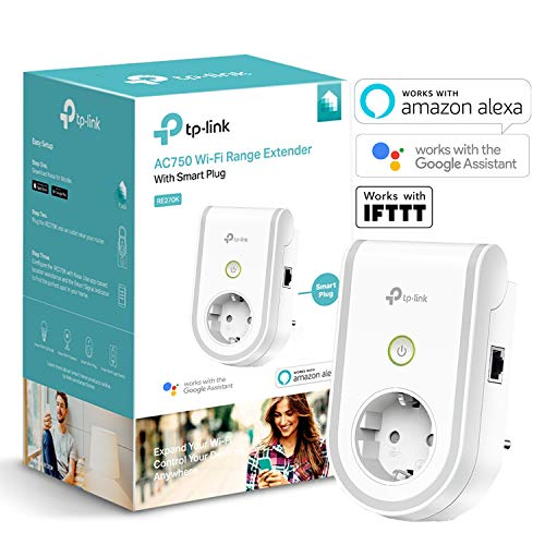 TP-Link RE270K - Enchufe Inteligente y repetidor Extensor de Red WiFi (750Mbps, casa automatizada, App Control, Android e iOS, WiFi, Compatible con Amazon Alexa)