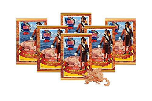 Gegrillte Shrimps - mit Chilli I Pikanter Natur Snack getrocknet u. gesalzen I Low Carb I High Protein I Low Fat I Fitness Snack I Trockenfisch reich an Omega 3 I für Männer u. Frauen (6 x 20g Pack)