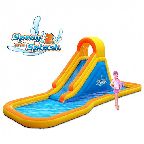 Blast Zone Spray N Splash 2 - Inflatable Water Park with Blower - Premium Quality - Easy Setup