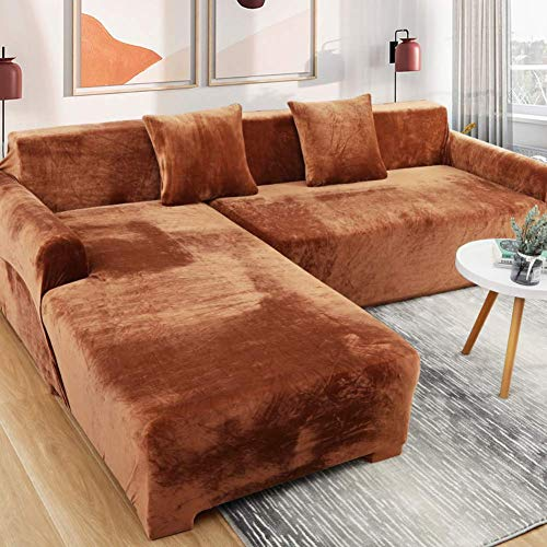 YXZQ Velvet Sofa Cover Furniture Protector,L Shape Slip Dust-proof Couch Covers For 1 2 3 4 Seat,Sectional Pet Cover For Couch Brown 3 Seat/190-230cm