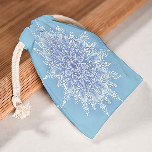 NC83 verpakking van 6 stuks voor 6 lichthemels, blauw, mandala, organiseren, canvas, trekkoordjes, herbruikbaar, snoepzakje, pak voor Kerstmis, bruiloft, cadeau, wrap bag, patroon print 20 * 25cm wit