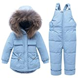 WESIDOM Baby Boys Girls Snowsuit,Toddler Winter Outfit Sets Kids Hooded Artificial Fur Down Jacket Coat and Ski Bib Pants Blue