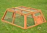 nanook Flori Hasenstall mit klappbaren Gitterdach, Freilaufgehege aus Holz für draußen, Gehege für Meerschweinchen, Hasen und Nager, 118 x 100 x 45 cm