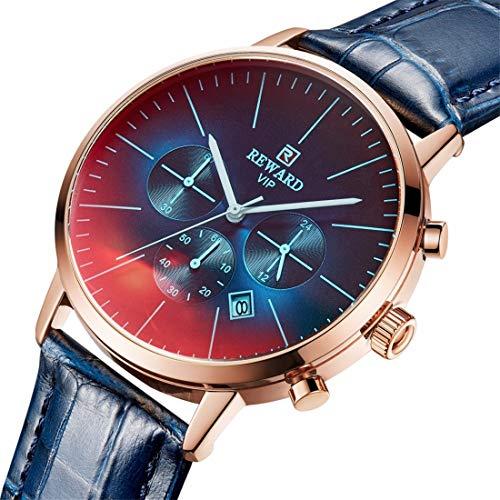 DESHOME Herren Analog Digitaluhr, Business Armbanduhren wasserdicht mit Kalender, Chronograph und Lederband für Herren und Jugendliche,Blue