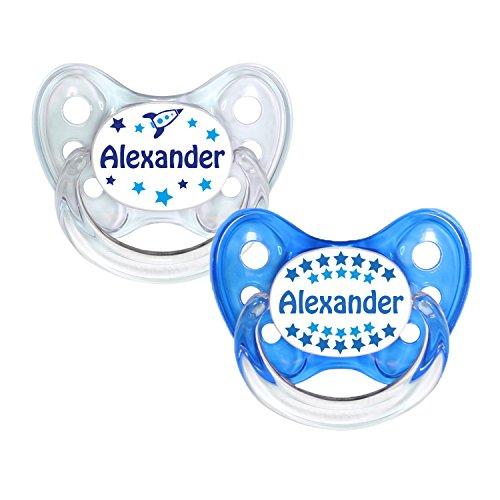 Dentistar® Silikon Schnuller 2er Set inkl. 2 Schutzkappen - Nuckel Größe 2-6 -14 Monate - zahnfreundlich & kiefergerecht - Beruhigungssauger für Babys - Made in Germany - BPA frei - Alexander