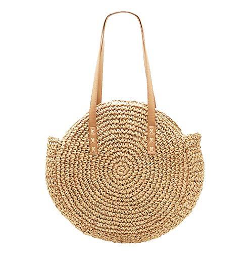 Women Straw Handbag Large Rattan Bag, Summer Beach Shoulder Tote Bag Vintage Weave Crossbody Bag (Dark Brown)