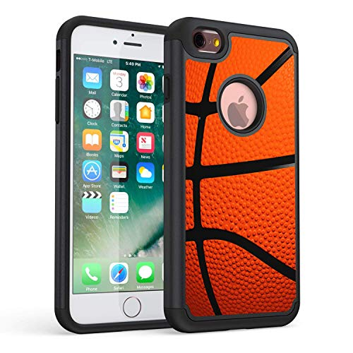 Rossy Funda para iPhone 6S Plus, funda para iPhone 6 Plus, resistente, híbrida de plástico TPU de doble capa de protección para iPhone 6S Plus/iPhone 6 Plus, baloncesto
