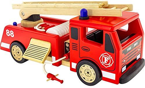 Pintoy P3102 - Camion da Pompiere, in Legno, Modello Grande