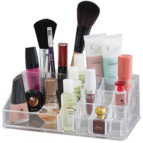 Oxid7® Organisateur pour cosmétiques   Présentoir Maquillage en Acrylique - 22,3x12,7x8 cm   Support pour Rouges à lèvres et Gloss   Porte-Rouges à lèvres