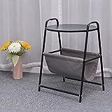 Uioy Mesa Auxiliar de sofá con Porta revistas, Mueble de Mesa Decorativa Redonda de café con Almohadilla de pie Ajustable para Espacios pequeños (Color : Black)