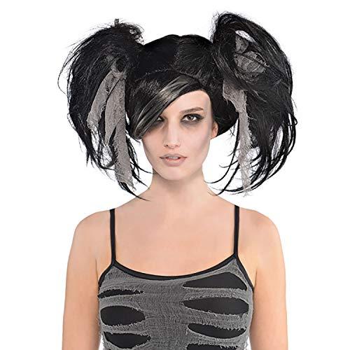 Yummy Bee - Peluca de Novia Cadver Zombi - Peluca de Momia de Terror de Halloween - Negro Gris