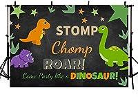 新しい恐竜のテーマお誕生日おめでとうパーティーの装飾背景ワイルドウッドランド動物ベビーシャワー写真背景ケーキテーブルバナースタジオ写真小道具ビニール10x7ft