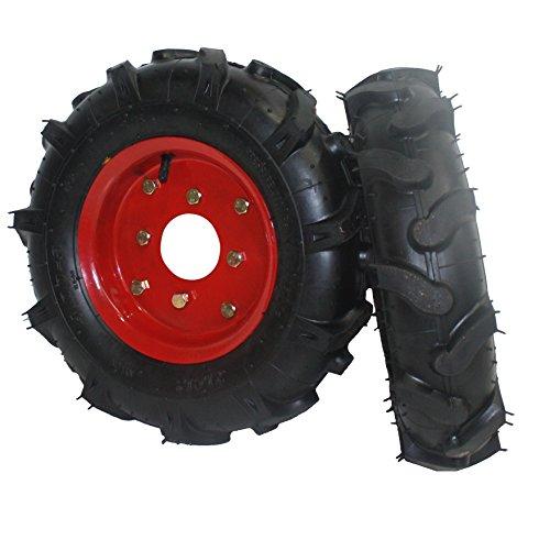 Bricoferr PTMT034 Juego de ruedas agrícolas neumáticas (400 x 8, aperos de motoazada)