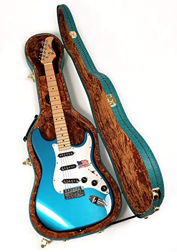 Douglas EGC-450 ST Blue Tweed Gold Electric Guitar Case for Fender Stratocaster Telecaster Strat, Tele, Epiphone Coronet, Rickenbacker 610 and more
