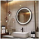 JWZQ Espejo de Baño con Iluminación LED Negro/Dorado, 40 cm, 50 cm, 60 cm, 70 cm, 80 cm,1x Marco Aluminio Espejo Maquillaje con Luces, IP65