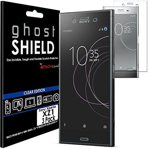 TECHGEAR [3 Pezzi Pellicola Protettiva Compatibile con Sony Xperia XZ1 [Edizione ghostSHIELD] Proteggi Schermo Rainforzata Flessibile TPU Pellicola per Schermo Intero Incluso Schermo Curvo