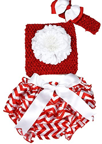Ensemble de culotte en satin pour bébé avec fleur blanche et rouge - 3 à 12 m - Rouge - taille unique