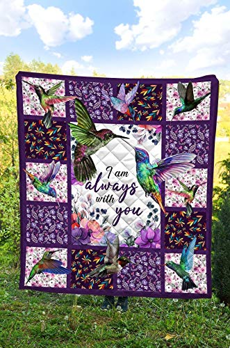 Hummingbird Always with You All Season Quilts Blanket Comforters Super King - Queen - Twin Size - Best Decorative for Bed, Couch, Sofa, Chair, Swing, Daybed, Home Decor