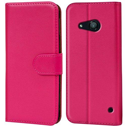 Verco Lumia 550 Hülle, Handyhülle für Microsoft Lumia 550 Tasche PU Leder Flip Case Brieftasche - Pink