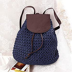 51P4PukOFgL. SS300  - Mochila para Mujer Cordón para Mujer Bolsa de Paja de Moda Verano Playa Lady Weave Mochila Bolsa Mochila de Viaje Grande…