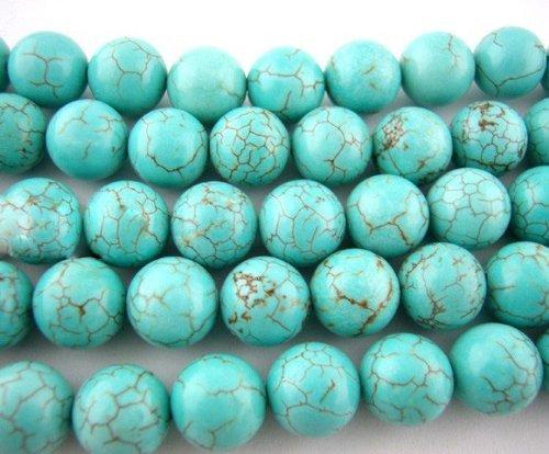 Collana di perle AlphaAcc in rotondo ametista-pietre 38,1 cm, colore: Turchese, cod. 00701