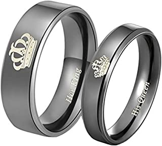 Yellow Chimes His Queen Her KingCouple Collection Ring for Women (Black)(YCFJCR-12CRWN-BK)