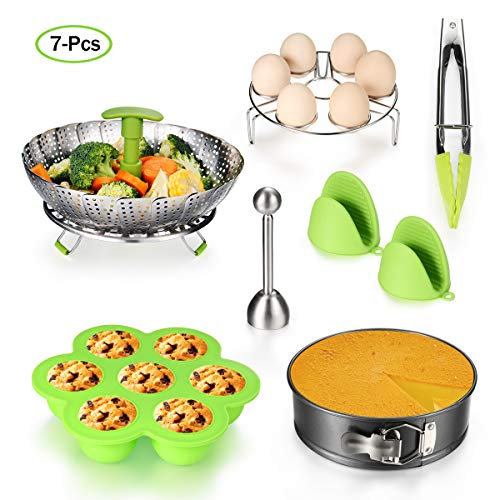 HCHUANG 7PCS Accessories for Instant Pot Set - 5,6,8 Qt Pressure Cooker Accessories Set with Steamer Basket,Eggshell Cutter,Egg Rack,Egg Bites Mold,Non-Stick Springform Pan,Tong,Silicone Mini Mitts