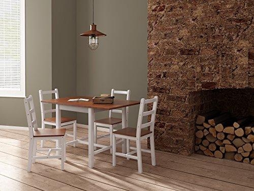 Panana Esstisch Stuhl Set Klapptisch Essgruppe Tischgurppe, Esstischgruppe Sitzgruppe Esszimmergarnitur, 119 x 75 x 73 CM, Tisch und 4 Stühle, Holz - Braun + Weiß