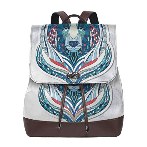 Women\'s Leather Backpack,African Asian Totem Tattoo Design Patterned Portrait On Grunge Backdrop,School Travel Girls Ladies Rucksack