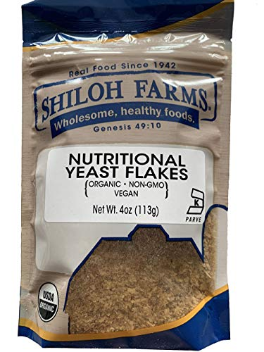 Shiloh Farms Organic Nutritional Yeast Flakes - 4 Ounce Bag - Vegan Protein - A GREAT ADDITION TO YOUR PLANT-BASED DIET!