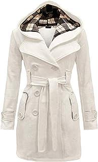 OMZIN Women's Winter Double Breasted Pea Coat Mid Length Outwear Trench Coat