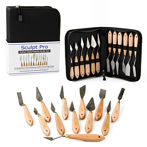 Sculpt Pro Palette Painting Knife Set- 12 Stainless Steel Art Palette Knives with Carrying Case