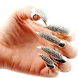 5 piezas/set el clavo falso punky del estilo cristalino claro garra pata de la garra de dedo del anillo del nudillo del dedo de la curva Clawfinger Anillo de Oro (Pequeño)