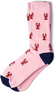 Men's Pink with Red Lobsters Nautical Novelty Crew Dress Socks