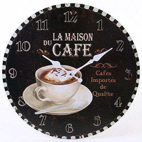 Jones Home et la Maison du Cafe Rustique Cadeau Horloge Murale, Multicolore, 34 cm