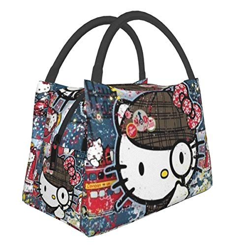 Portable Tote Bag Lunch Bag,Hello Kitty Lunch Box Insulated Lunch Container For Women,Men,Kids