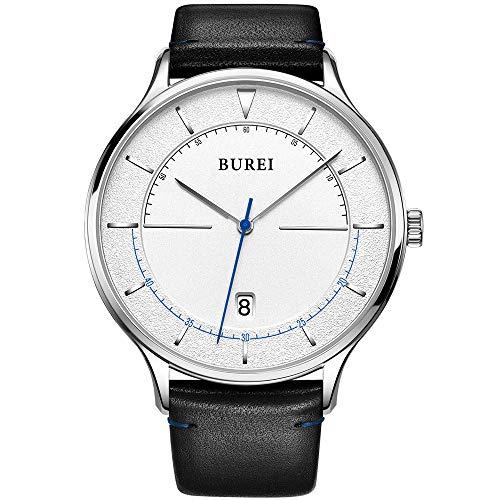 Burei unisex sottile minimalista orologi da polso con calendario faccia bianca grande in vetro minerale fascia in pelle (Bianco)