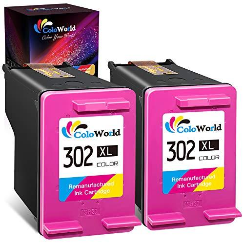 ColoWorld Remanufacturado 302 XL Tricolor Cartuchos de tinta con HP 302XL con HP DeskJet 2130 3634 3632 3630 3636 3637 1110 Envy 45284520 4524 4527 OfficeJet 3830 3831 3832 3835 4650 Impresora 2-Pack