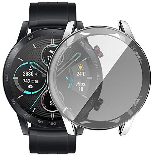 BZN Smart Watch Case per Huawei Honor Magic 2 placcatura TPU Shell Protettiva all-Inclusive (Color : Silver)