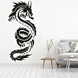 HNXDP Dragón chino de alta calidad Mural de pared Sala de estar Decoración del hogar Vinilo Arte Etiqueta de la pared extraíble 57x26cm