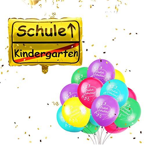 Humairc Einschulung Schulanfang Deko 20 Luftballon Folienballon Konfetti Einschulungsfeier Einschulungsparty Dekoration Grundschule