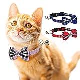 DAIXI Collar de Gato, Escapada con Linda Pajarita y Campana para Gatito y Algunos Cachorros, Ajustable de 7,8 a 10,5 Pulgadas(Rojo + Azul)