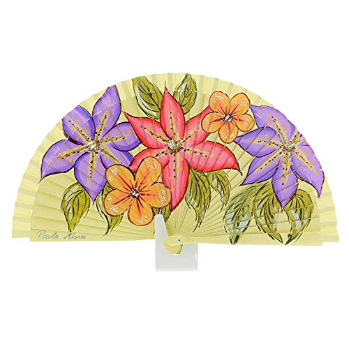 Abanico Madera para Mujer Artesanal Talla: U Color: Amarillo
