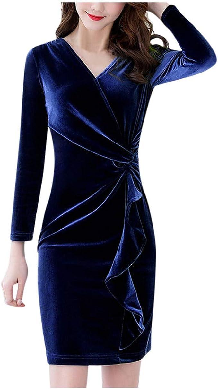SALUCIA Damen Kleider Elegant Samtkleid V Ausschnitt ...