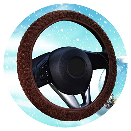 Ablaze Jin Funda de terciopelo para volante de coche, universal, suave, cálida, para dirección, para mujer, hombre, niña, coche, interior, color marrón