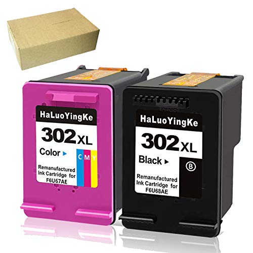HaLuoYingKe - Cartuchos de tinta para HP 302 302XL, compatibles con HP OfficeJet 3830 3831 3833 4650 4655 DeskJet 3630 3636 2130 1110 3633 3638 Envy 4525 4520 4522 4527 4524 (1 negro, 1 color)