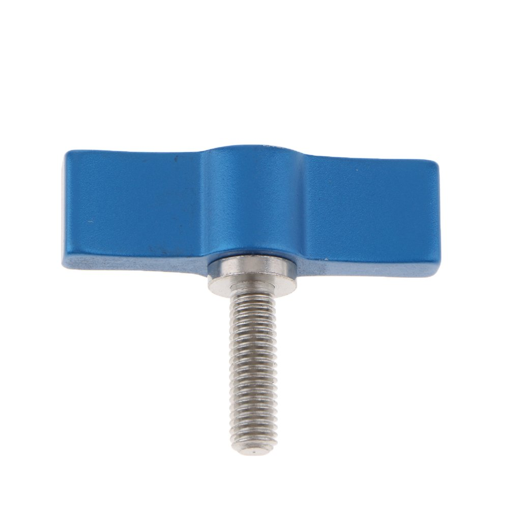 M5 Rotating Knob Handle Thumb Lever Screw T-Shaped 17mm for Rod Clamp Blue