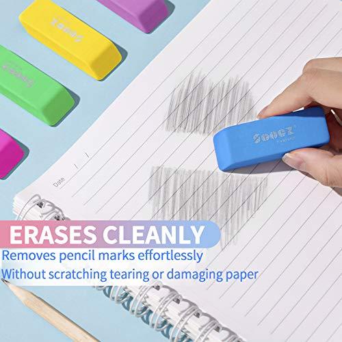 Sooez Pencil Eraser, 12 Pack Pencil Eraser for Kids, Pencil Erasers Bulk, Large Eraser for Drawing, Colorful Erasers, Big Erasers for School Classrooms, Teachers, Kids, Office, Art Class Photo #7